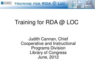 Training for RDA @ LOC