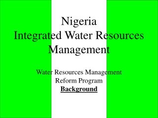 Nigeria Integrated Water Resources Management