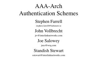AAA-Arch Authentication Schemes