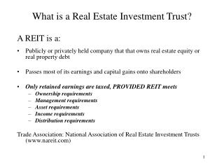 What is a Real Estate Investment Trust?