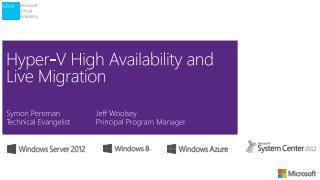 Hyper-V High Availability and Live Migration