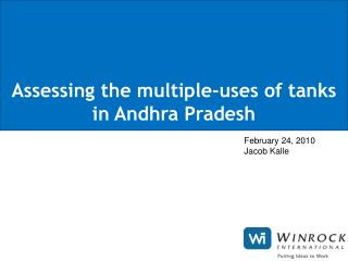 Assessing the multiple-uses of tanks in Andhra Pradesh