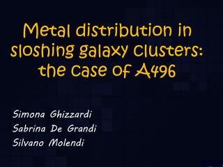 Metal distribution in sloshing galaxy clusters:  the case of A496