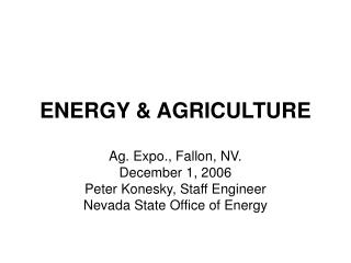 ENERGY & AGRICULTURE