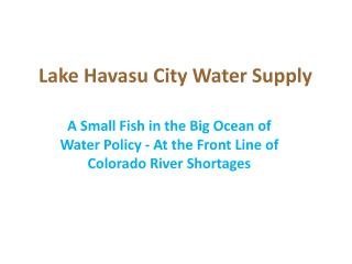 Lake Havasu City Water Supply