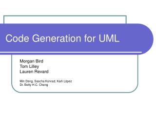 Code Generation for UML