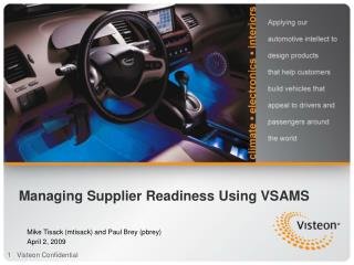 Managing Supplier Readiness Using VSAMS