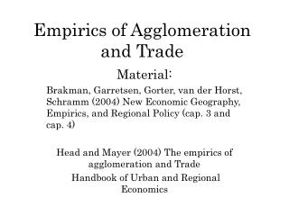 Empirics of Agglomeration and Trade