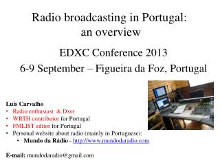 Radio broadcasting in Portugal:  an overview