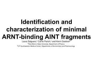 Identification and characterization of minimal ARNT-binding AINT fragments