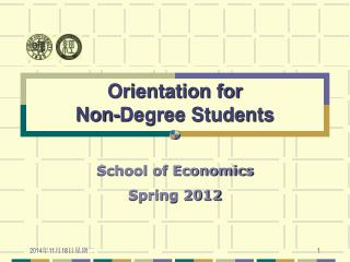 Orientation for Non-Degree Students