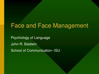 Face and Face Management