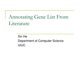 Annotating Gene List From Literature