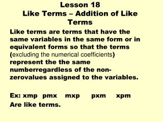 Lesson 18  Like Terms – Addition of Like Terms