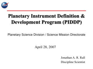 Planetary Instrument Definition & Development Program (PIDDP)