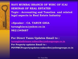 NAVI MUMBAI BRANCH OF WIRC OF ICAI SEMINAR OF REAL ESTATES