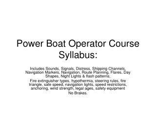 Power Boat Operator Course Syllabus: