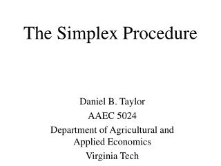 The Simplex Procedure
