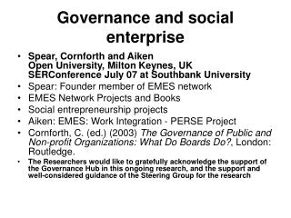 Governance and social enterprise