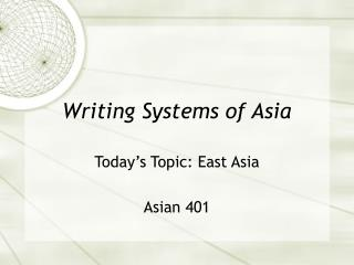 Writing Systems of Asia
