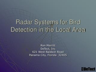 Radar Systems for Bird Detection in the Local Area