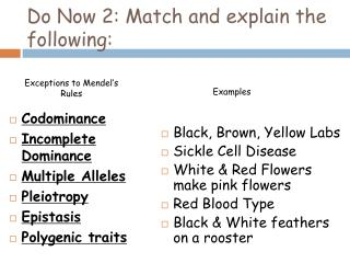 Do Now 2: Match and explain the following: