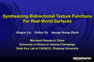 Synthesizing Bidirectional Texture Functions For Real-World Surfaces