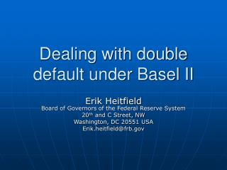 Dealing with double default under Basel II