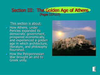 Section III:  The Golden Age of Athens (Pages 117-117)
