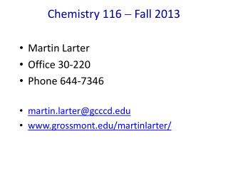 Chemistry  116    Fall 2013