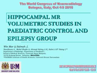 HIPPOCAMPAL MR VOLUMETRIC STUDIES IN PAEDIATRIC CONTROL AND EPILEPSY GROUP