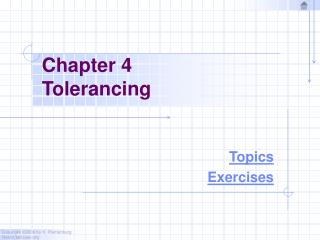 Chapter 4 Tolerancing