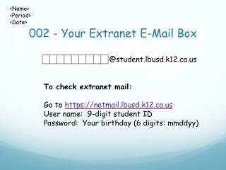 002 - Your Extranet E-Mail Box