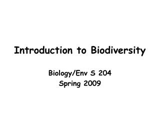 Introduction to Biodiversity