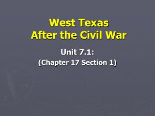 West Texas  After the Civil War