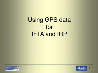 Using GPS data for IFTA and IRP