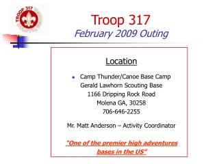 Troop 317 February 2009 Outing