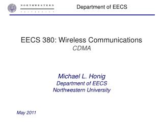 EECS 380: Wireless Communications CDMA