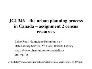 JGI 346 – the urban planning process in Canada – assignment 2 census resources