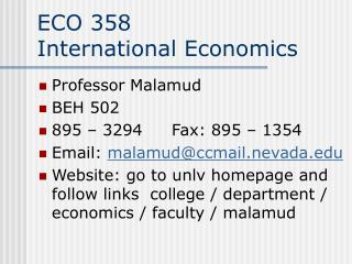 ECO 358 International Economics