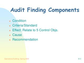 Audit Finding Components