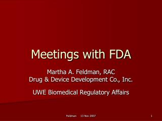Meetings with FDA