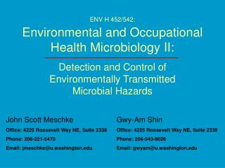 ENV H 452/542: Environmental and Occupational Health Microbiology II:
