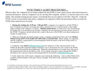 NYSE TIMELY ALERT PROCEDURES  (1)
