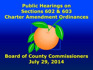 Public Hearings on Sections 602 & 603 Charter Amendment Ordinances Board of County Commissioners