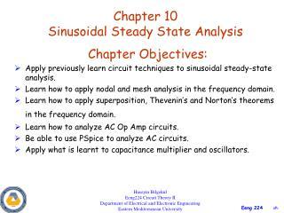 Chapter 10 Sinusoidal Steady State Analysis