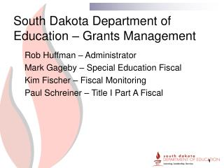 South Dakota Department of Education – Grants Management