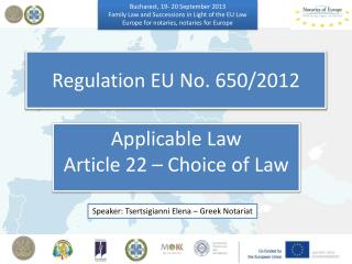 Regulation EU No. 650/2012