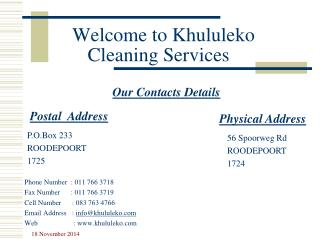 Welcome to Khululeko Cleaning Services