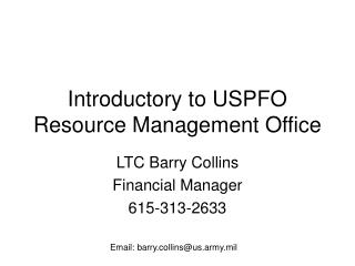 Introductory to USPFO Resource Management Office